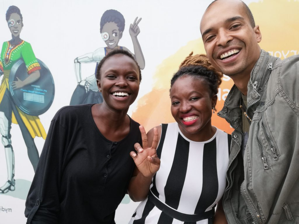 Regina Honu, founder of Soronko Solutions with Dulcie Mativo (left) and Thomas Jakel (right) in Accra